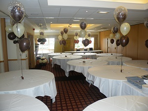 10 (3) balloon table bouquets including double bubble
