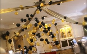 exploding balloon tulle ceiling arrangement