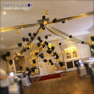 exploding balloon tulle ceiling arrangeme