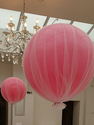 giant tulle covered balloon