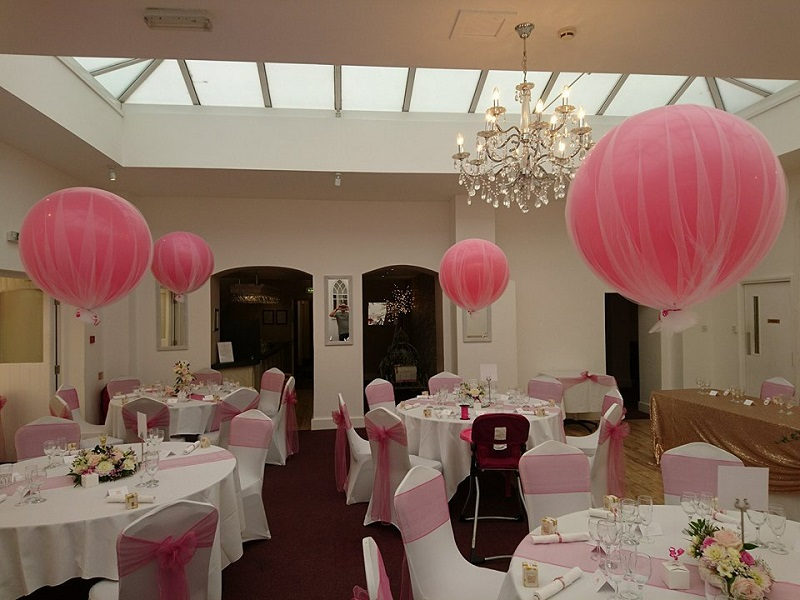 giant tulle covered balloons